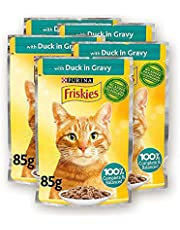 Purina Friskies Duck Chunks in Gravy Wet Cat Food Pouch 85g (5 Pieces)