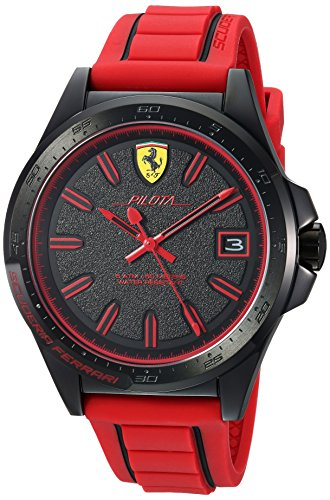 Ferrari Men's 'Pilota' Quartz Stainless Steel and Rubber Casual Watch, Color:Red (Model: 830424)