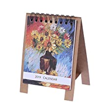 YeahiBaby Table Calendars 2019 Oil Painting Exquiste Portable Desk Paper Calendars