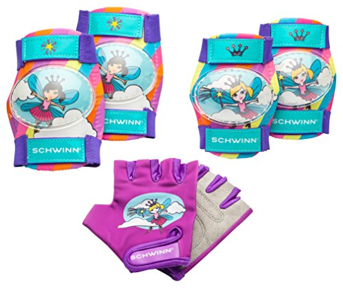 Schwinn Friends Child Glitter Knee & Elbow Pad Set with Gloves