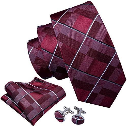 (Barry.Wang Wedding Business Ties Set Classic Handkerchief Cufflink Red)