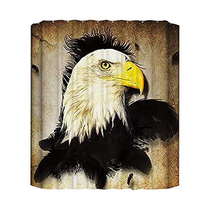 GoJeek Bald Eagle Shower Curtain American Vintage Bathroom Sets 72quot