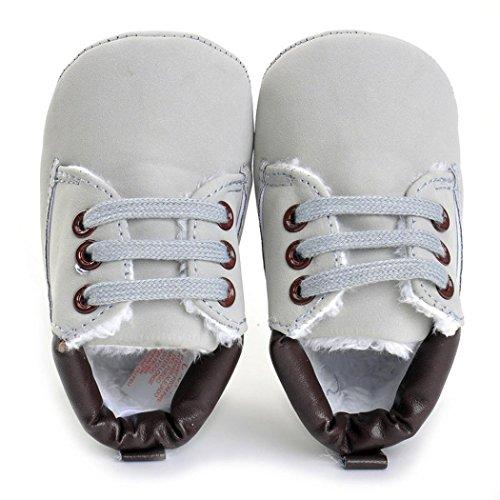 Hunpta Baby Kleinkind weiche Sohle Leder Schuhe Baby Junge Mädchen Schuhe aus Baumwolle (Alter: 12 ~ 18 Monate, Weiß) Gray