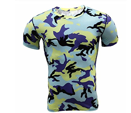 Short Sleeve Shirt Printed Pants Mens Camouflage Workout Clothing Smooth Tight Sweat Suits