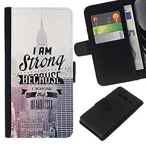 KLONGSHOP // Tirón de la caja Cartera de cuero con ranuras para tarjetas - Soy fuerte - Samsung Galaxy A3 //