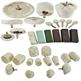 AB Tools-Toolzone 32pc Deluxe Polishing Kit Buffing Cloth Cotton Mop Drill Compounds Spindle Metal