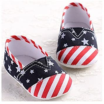 NEW Baby Boys US Flag Patriotic 4th of July Slip On Sneakers Crib Shoes