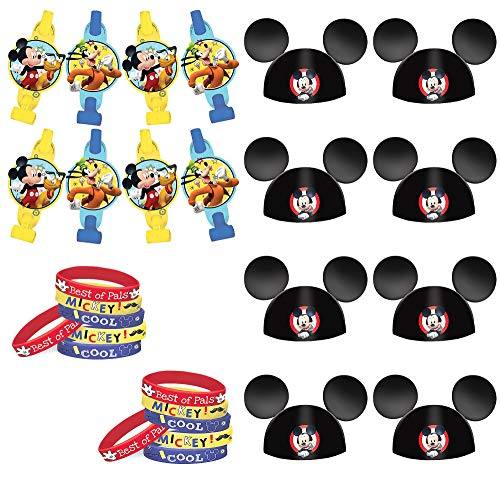Party City Mickey Mouse Accessories Supplies, Include Mouse Ear Cardstock Hats, Paper Blowouts, and Rubber Wristbands