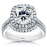 Cushion Moissanite Bridal Set with Halo Diamond 3 1/4 CTW 14k White Gold