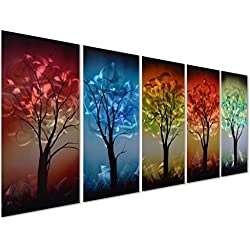 "Pure Art From Dusk til Dawn Multi-Colored Tree Metal Wall Art, 3D Wall Art for Modern and Contemporary Decor, Decorative hanging in 5-Panels Measures 24""x 64"", Works for Indoor and Outdoor Settings"