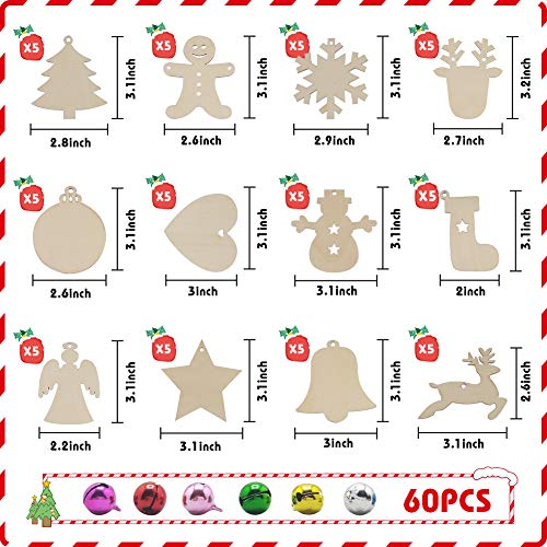 LovesTown 60 Pcs Unfinished Christmas Wooden Ornaments, Unpainted Christmas Ornaments 12 Styles Craft Wood Kit with 60 Pcs Colored Jingle Bells DIY Christmas Ornaments for Holiday Decoration