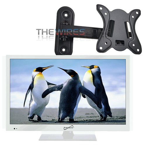 "Supersonic SC-1511 White 15.6"" 1080p LED HDTV with HDMI & USB Input + Wall Mount"