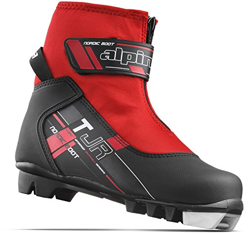 (Alpina Sports Youth TJ Touring Ski Boots With Strap & Zippered Lace Cover, Black/Red, Euro 32)