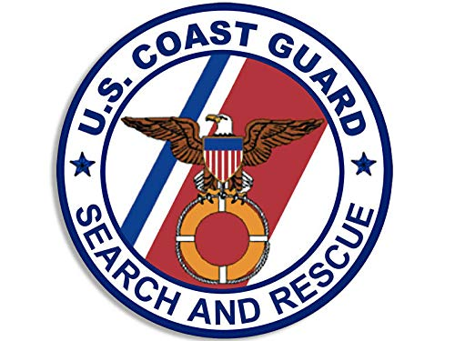 JR Studio 4x4 in Round Coast Guard Search and Rescue Seal Sticker - Military Logo Insignia Vinyl Decal Sticker Car Waterproof Car Decal Bumper Sticker