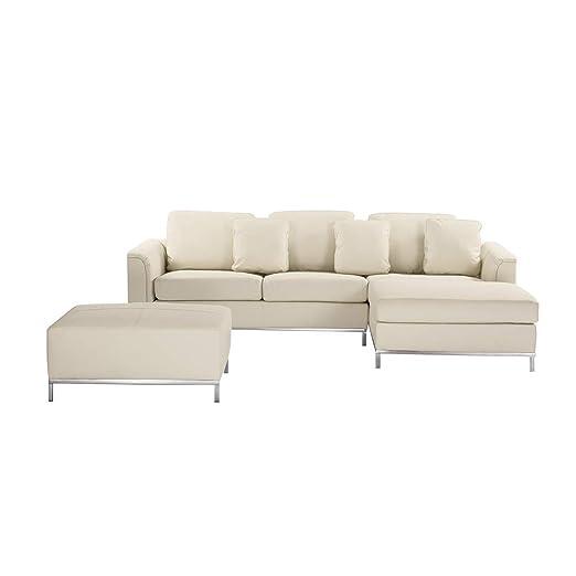 Beliani Piel Sofá Beige - Rinconera/Esquina Couch L - Piel ...