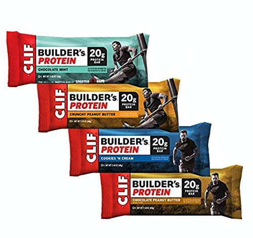 CLIF BUILDER'S Protein Bar - Crunchy Peanut Butter, Chocolate Peanut Butter, Chocolate Mint, Cookies and Cream (Variety Pack, 12 ()