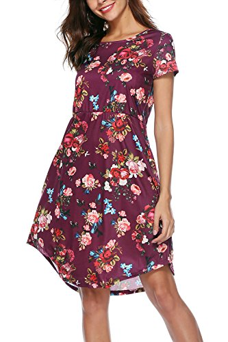 NICIAS Women Floral Short Sleeve Tunic Vintage Midi Casual Dress with Pockets Wine S -