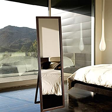Full Length Free Standing Dressing Mirror Sustainable Solid Wood and Glass (59 x18 , Brown) - ONLY SHIP TO CA, NV, OR, AZ