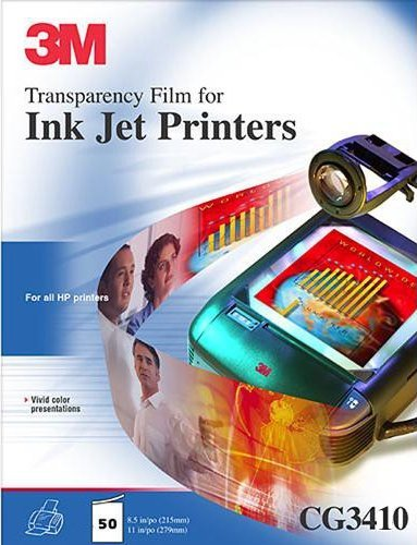 (3M CG3410 Ink Jet Transparency Film for Canon and Epson Printers, 50 sheets)