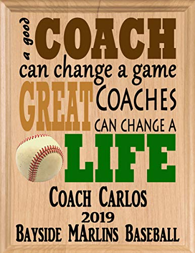 Broad Bay Baseball Coach Gifts Personalized Coaches Gift Appreciation Thank You Plaque ()