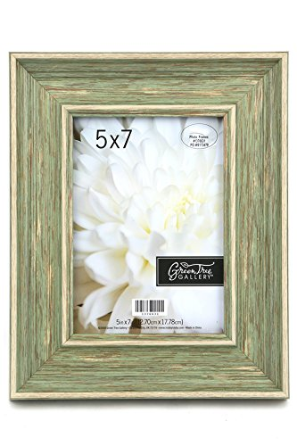 Green Tree Gallery Wide Scoop Frame with Distressing, Sage, for 5 x 7 inch Photo (Photo Sage Frame)
