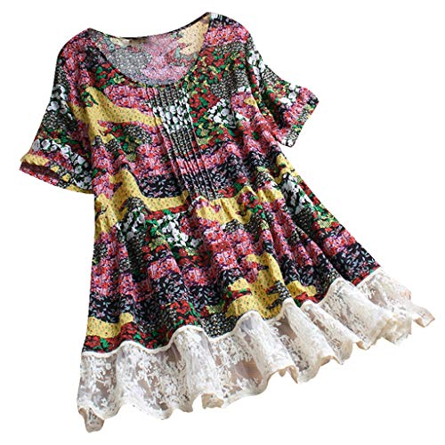 Eoeth Big Sale!Women's Pleated Floral T-Shirt, Lace Patchwork Lightweight Quick-Dry Short Sleeve Vintage Loose Top Blouse Pink