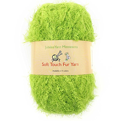 JubileeYarn Soft Touch Fuzzy Fur Yarn - 74yd/Skein - Lime Green - 2 Skeins -
