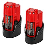 Energup Upgraded 2 Pack 12V 2500mAh Replacement M12 48-11-2410 Lithium-ion Battery for Milwaukee 48-11-2420 48-11-2411 48-11-2401 48-11-2402 48-11-2401 REDLITHIUM Cordless Tools