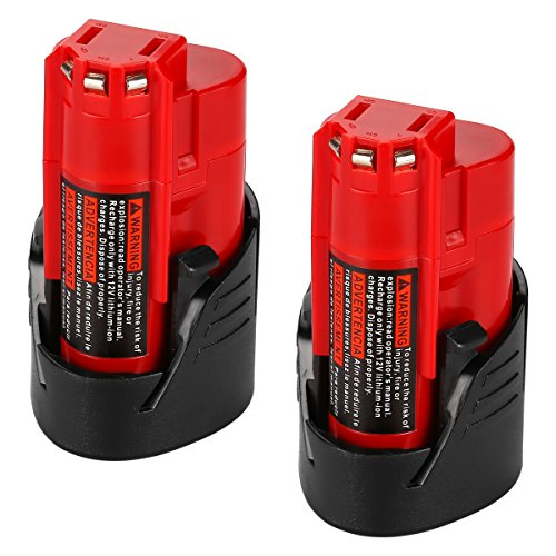 Energup Upgraded 2 Pack 12V 2500mAh Replacement M12 48-11-2410 Lithium-ion Battery for Milwaukee 48-11-2420 48-11-2411 48-11-2401 48-11-2402 48-11-2401 REDLITHIUM Cordless Tools by Energup