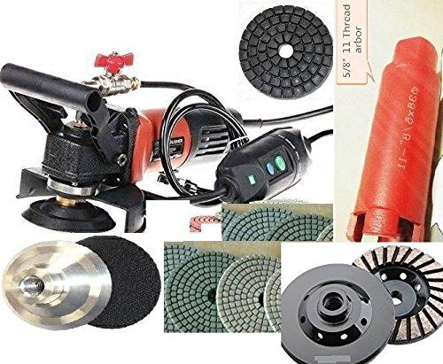 Wet Polisher 1 3/8'' Diamond Core Bit Sink Hole Saw Cutter 4'' Diamond Polishing Pad Buffer 18 Pieces and aluminum backer for granite marble quartz concrete stone fabrication cement sanding by Diamond Abrasive and Power Tools