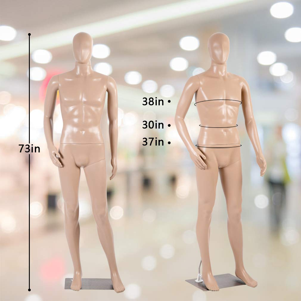 Mannequin Manikin Dress Form 73 Inch Full Male Body Realistic Mannequin Display Adjustable Head Turns W//Metal Base Dress Model Mannequin Stand Torso