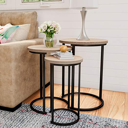 Lavish Home 80-FNT-4 Round Nesting Set of 3, Modern Woodgrain Look with Black Base for Living Room Coffee Tables or Nightstands-Accent Home Furniture
