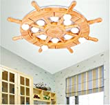 Warm cartoon bedroom ceiling lamp cute logs rudder children's room ceiling lamp, 620 90mm