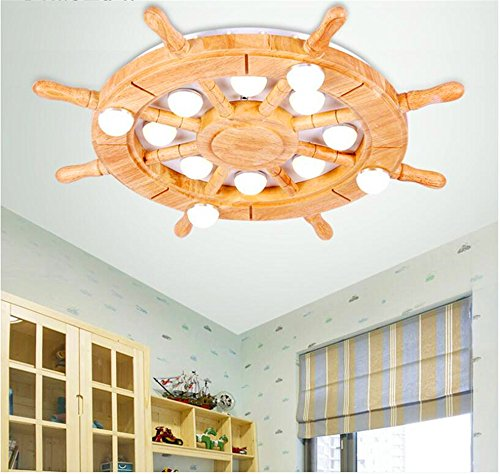 Warm cartoon bedroom ceiling lamp cute logs rudder children's room ceiling lamp, 620 90mm by Bore bore mi