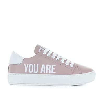Pinko Womens Shoes Accanita Pink Leather Sneaker Spring Summer 2018