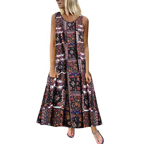 Women Cotton Linen Floral Maxi Dress Casual Loose Plus Size Vintage Patchwork Button Boho Home Beach Dress ()