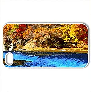 AUTUMN RIVER - Case Cover for iPhone 4 and 4s (Rivers Series, Watercolor style, White)