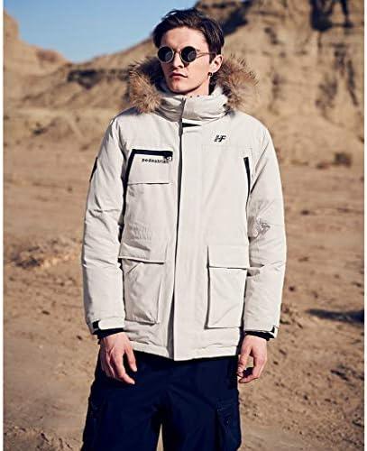 Slow Time Shop Herren warme Daunenjacke Parka Puffer Mantel mit Kapuze Faux-Pelz-Ordnungs-Winter-Insulated Mantel M-3XL (2 Farben) (Farbe : Beige)