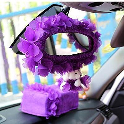 LuckySHD Car Accessory Gear Shift/Handbrake/Seat Belt/Rearview Mirror/Steering Wheel/Tissue Box Cover-Purple