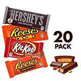 HERSHEY'S Variety Pack Holiday Chocolate Candy Bars, HERSHEY'S, KIT KAT, REESE'S & REESE'S Pieces (20 Count)