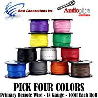 4 Rolls Audiopipe 100 Feet 18 GA Gauge AWG Primary Remote Wire Auto Power Cable