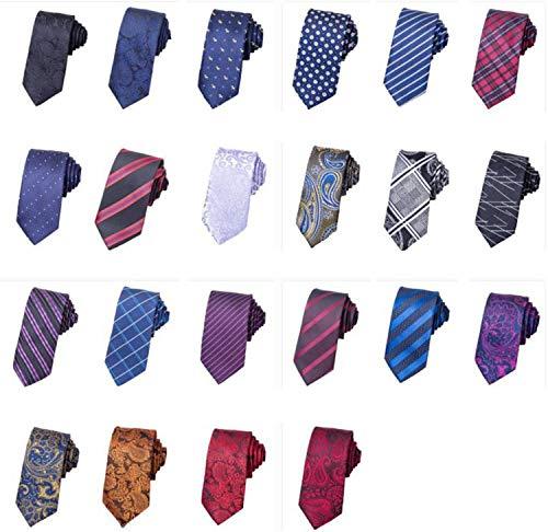 Soluo Mens Classy Woven Jacquard Slik Necktie Classic Cotton Handmade Skinny Neck Tie