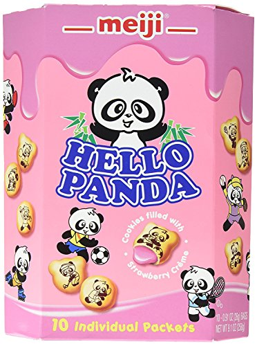 Meiji Hello Panda Family Pack Cookies, Strawberry, 9.1 oz (10 Individual Packets)