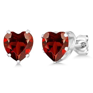 Fine Jewelry Genuine Red Garnet 14K Yellow Gold Heart-Shaped Earrings G1RMl4DD