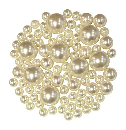 Floating NO Hole Ivory Pearls - Jumbo/Assorted Sizes Vase Decorations + Includes Transparent Water Gels for Floating The Pearls