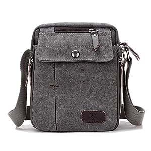 FYXKGLan Men and Women Casual Small Messenger Bag Korean Canvas Bag Shoulder Bag Men Bag Outdoor Multi-Function Travel Bag Tide (Color : Grey)