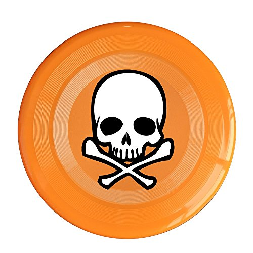 LINNA Unisex Head Skull With Crossbone Outdoor Game, Sport, Flying Discs,Game Room, Light Up Flying, Sport Disc ,Flyer Frisbee,Ultra Star Orange One Size