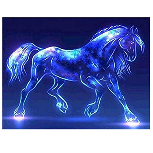 Cinhent Diamond Painting, 5D Embroidery Rhinestone Pasted DIY, 30  40CM, Beautiful Art Office & Hotel Decoration, Three-Dimensional Art Horse with Star Spots, Embellishment of Blue Light