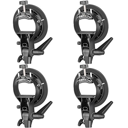 Neewer 4 Packs S-Type Bracket Holder with Bowens Mount for Speedlite Flash Snoot Softbox Beauty Dish Reflector Umbrella ()
