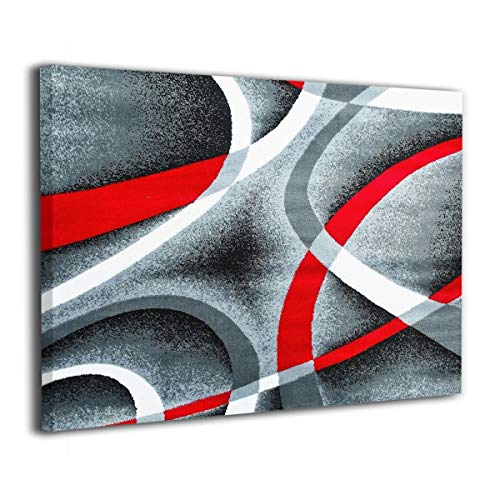 Canvas Wall Art Watercolor Magnolia Decor Frameless Pictures Modern Decorations for Living Room Bedroom Bathroom Home Decor for Living Room Baby Room 16x20inch (Gray Black Red White Swirls)